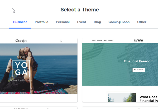 select a theme for your website