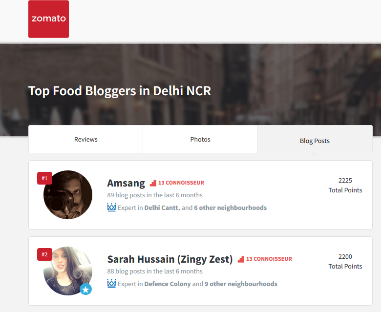 zomato leader board